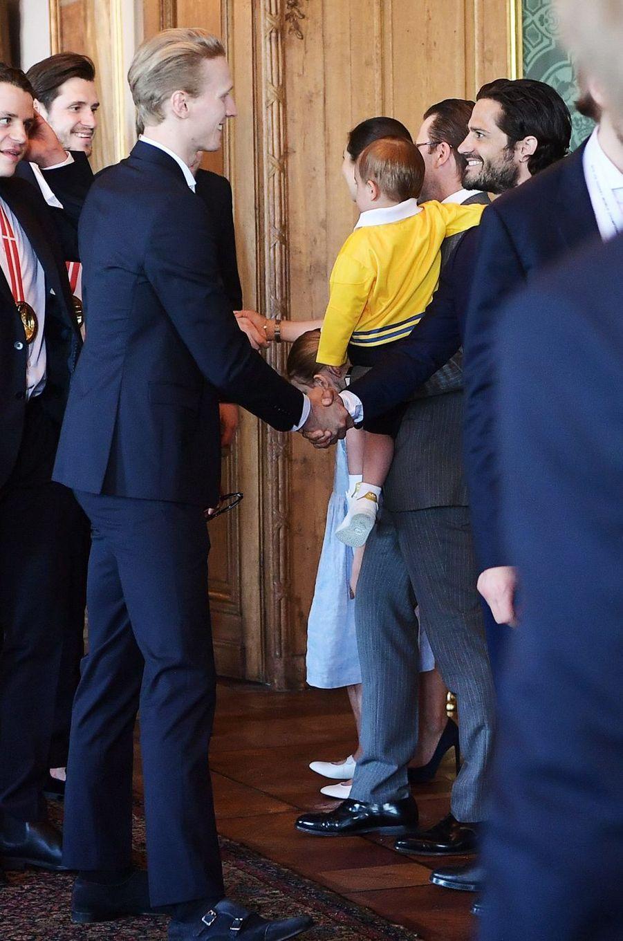 Les princes Daniel, Oscar et Carl Philip de Suède à Stockholm, le 21 mai 2018