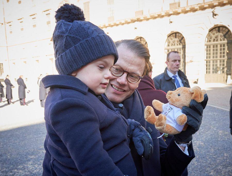 Les princes Oscar et Daniel de Suède à Stockholm, le 12 mars 2019