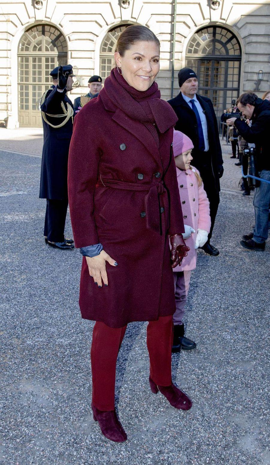 Les princesses Victoria et Estelle de Suède à Stockholm, le 12 mars 2019