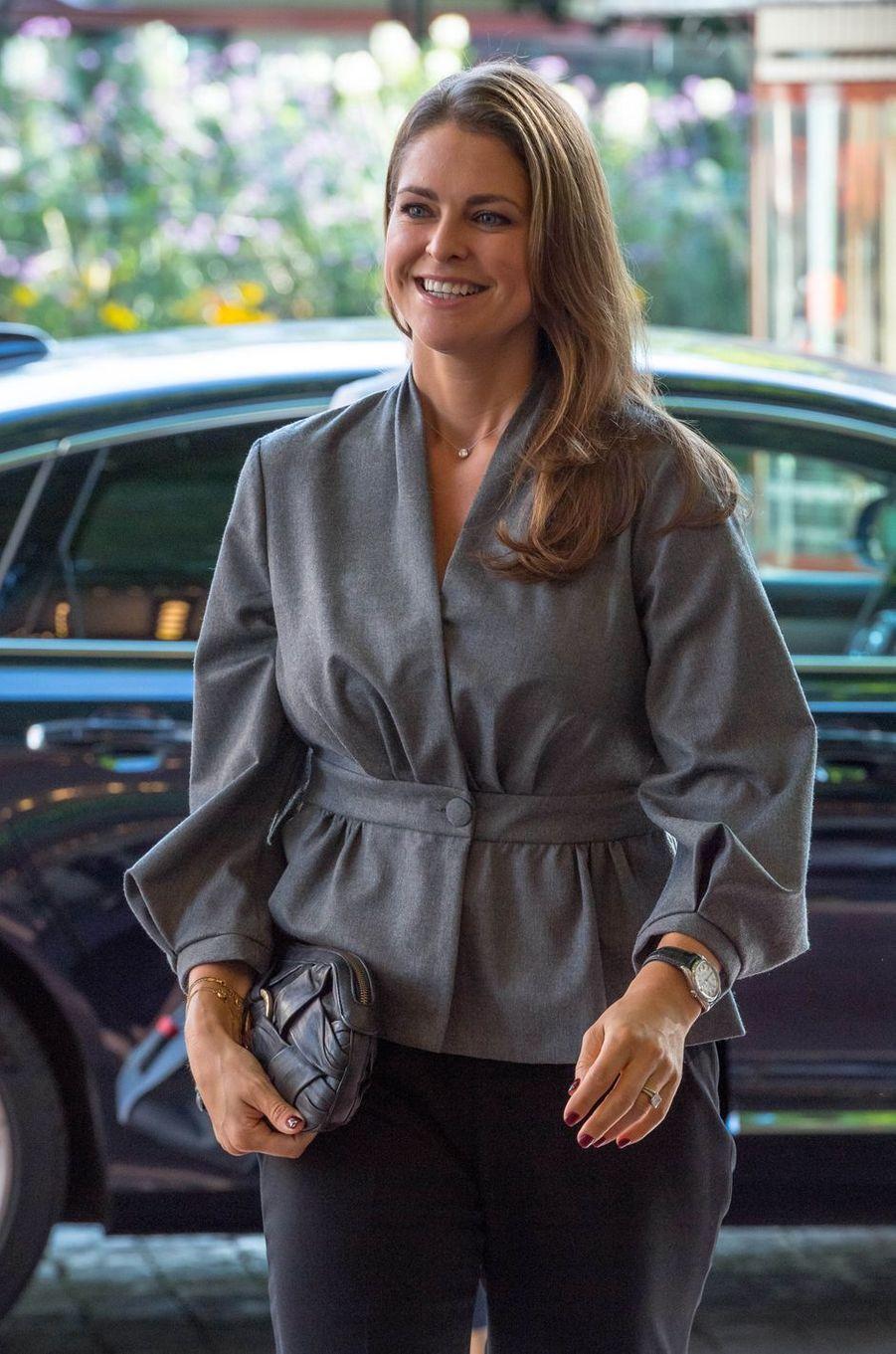 La princesse Madeleine de Suède, radieuse à Stockholm, le 13 septembre 2017