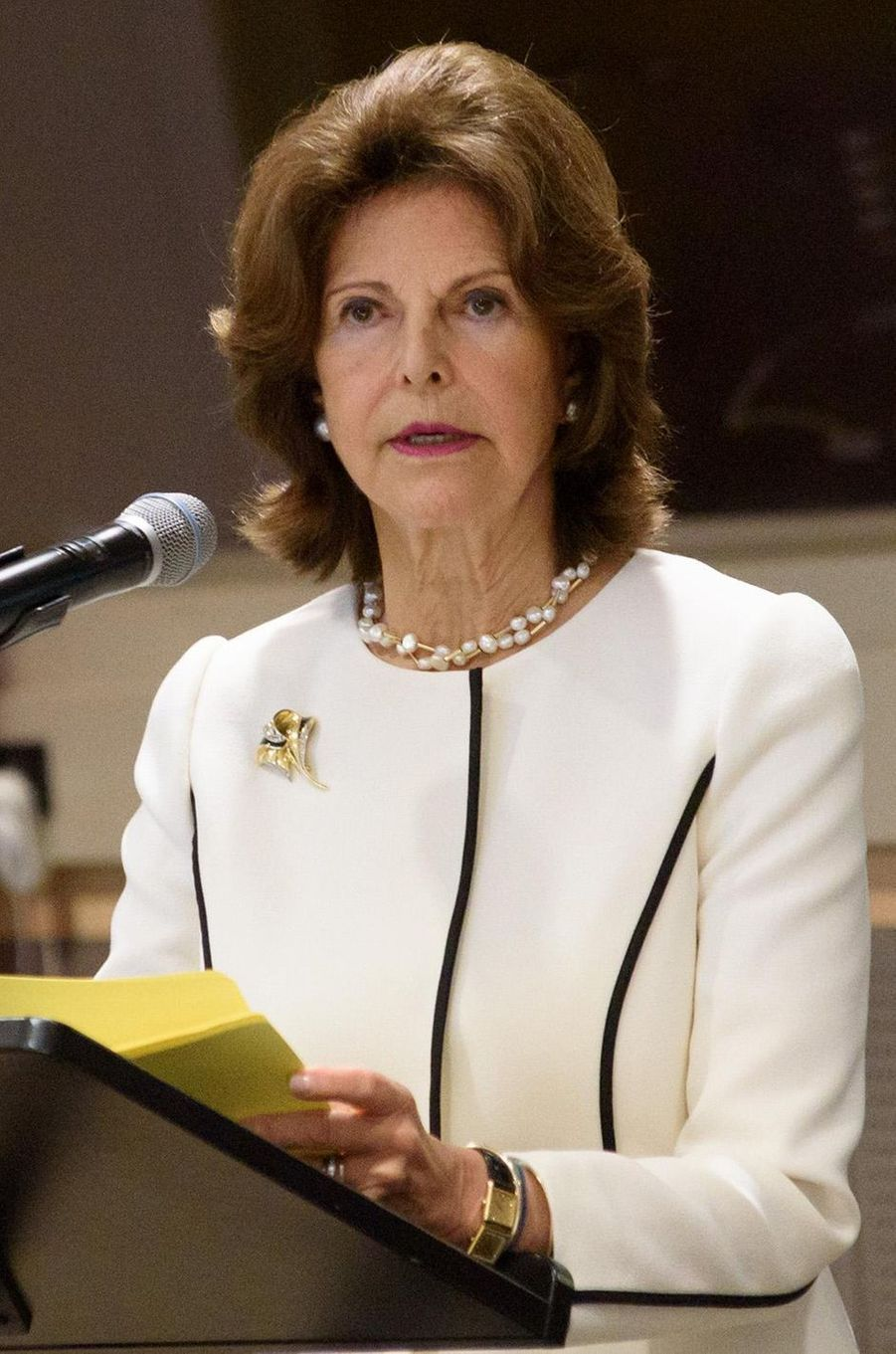 La reine Silvia de Suède à New York, le 2 octobre 2017