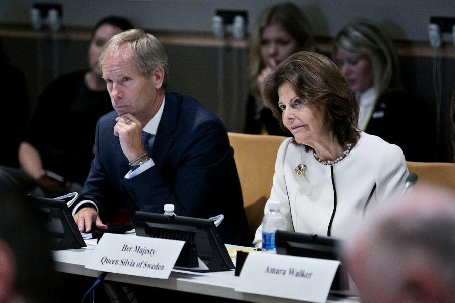 La reine Silvia de Suède à l'ONU à New York, le 2 octobre 2017