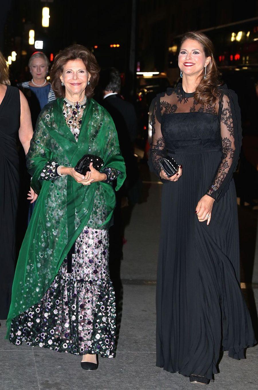 La reine Silvia et la princesse Madeleine de Suède à New York, le 2 octobre 2017