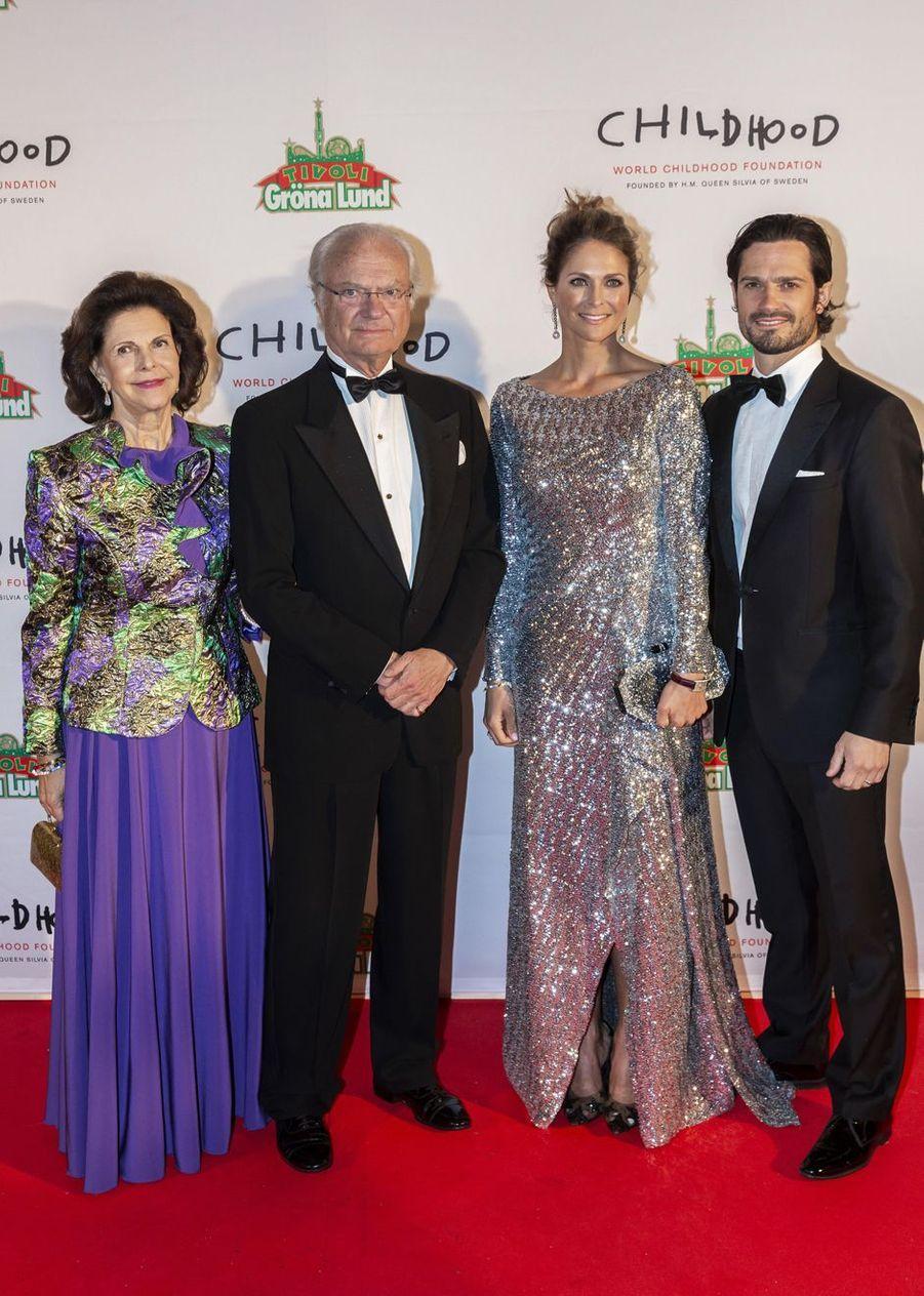 La reine Silvia, le roi Carl XVI Gustaf, la princesse Madeleine et le prince Carl Philip de Suède à Stockholm, le 7 février 2019