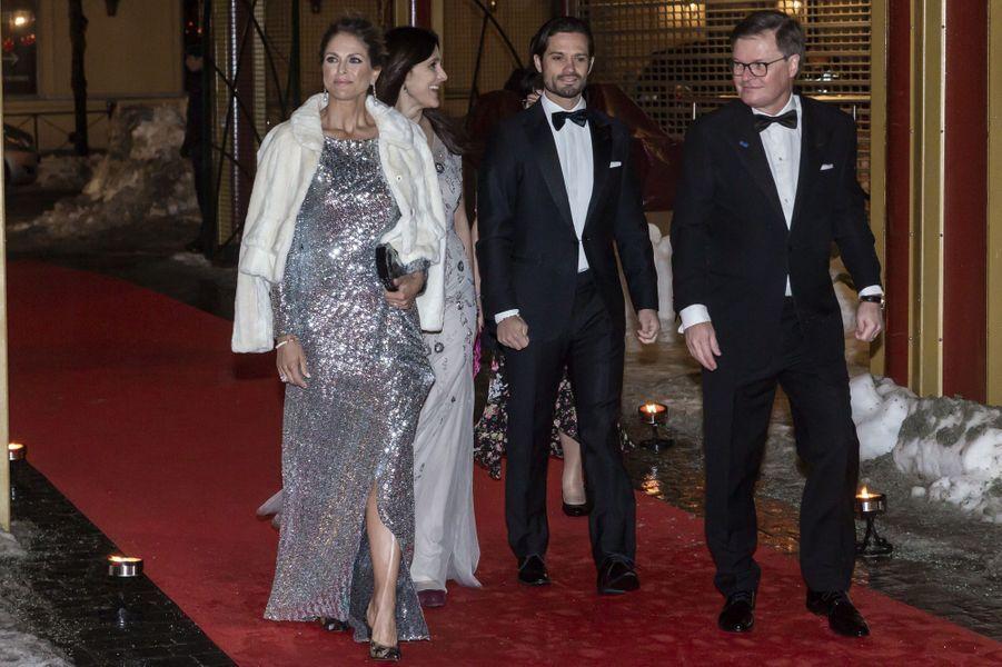 La princesse Madeleine, dans une robe Roland Mouret, et le prince Carl Philip de Suède à Stockholm, le 7 février 2019