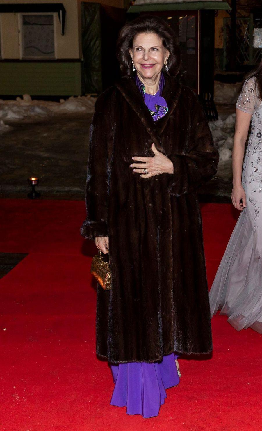 La reine Silvia de Suède à Stockholm, le 7 février 2019