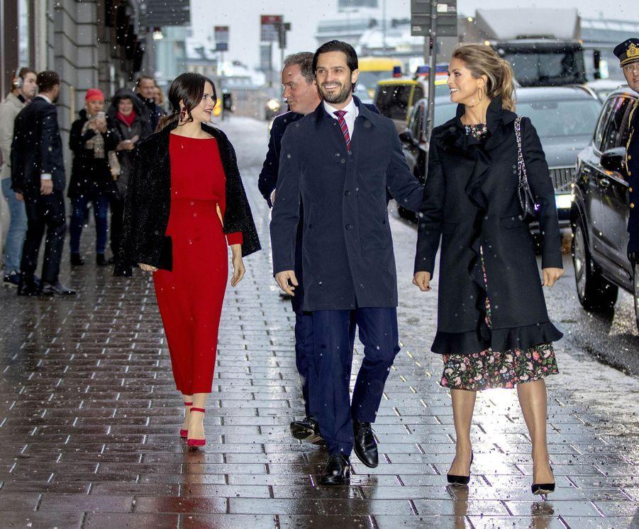 Les princesses Sofia et Madeleine, le prince Carl Philip de Suède et Christopher O'Neill à Stockholm, le 18 décembre 2018