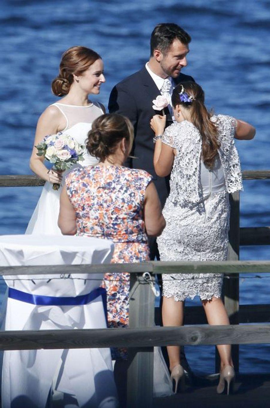 La princesse Sofia de Suède, avec sa soeur Lina et son mari à Stockholm, le 22 août 2015