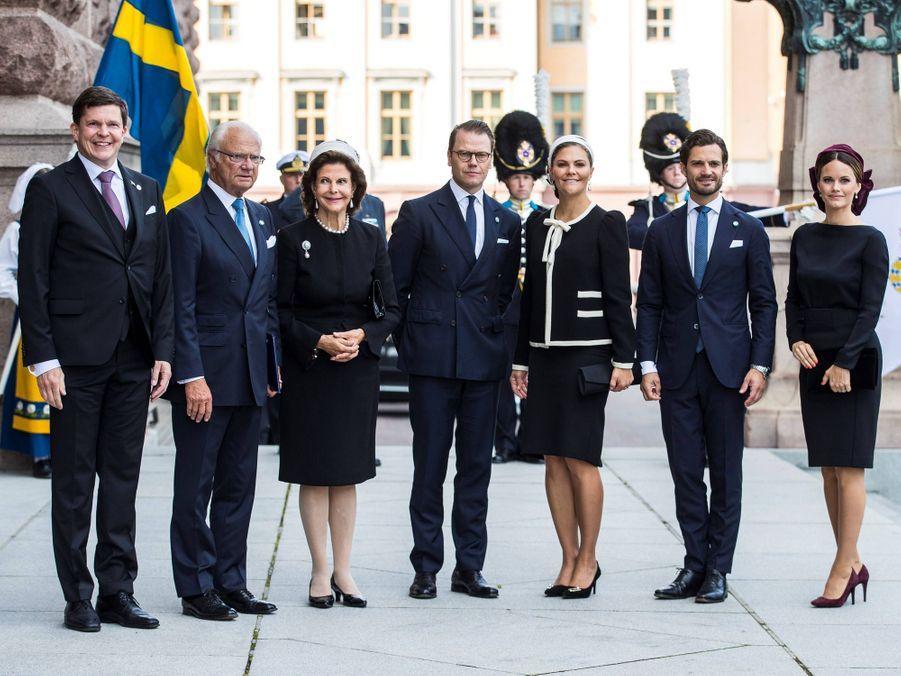 La famille royale de Suède avec le président du Parlement Andreas Norlén à Stockholm, le 10 septembre 2019