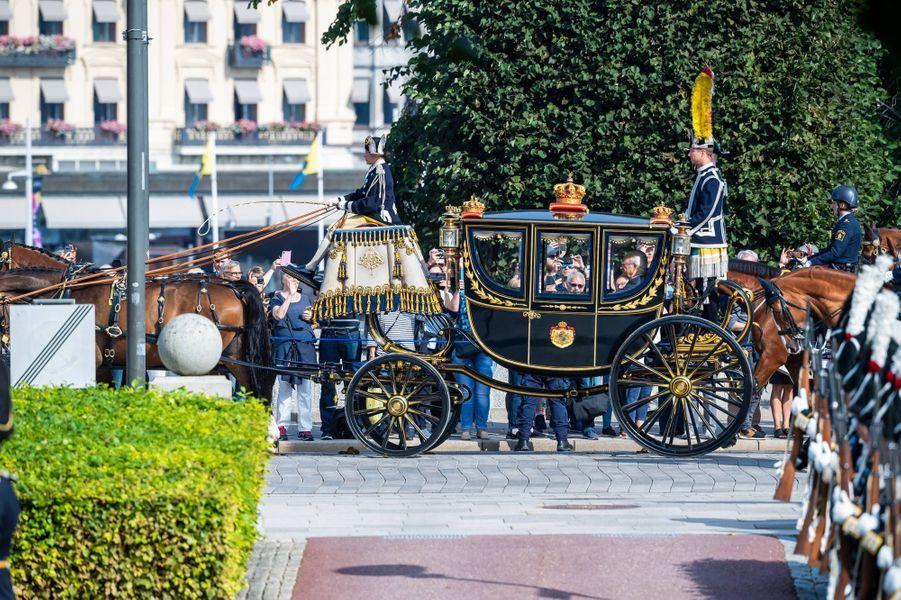 Le carrosse du roi Carl XVI Gustaf de Suède à Stockholm, le 10 septembre 2019