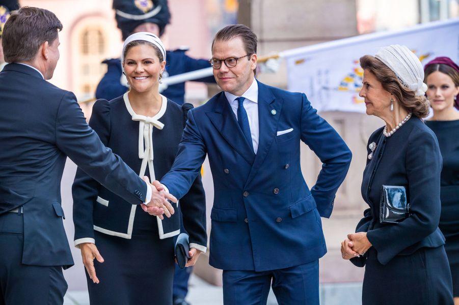 La princesse Victoria, le prince Daniel et la reine Silvia de Suède à Stockholm, le 10 septembre 2019