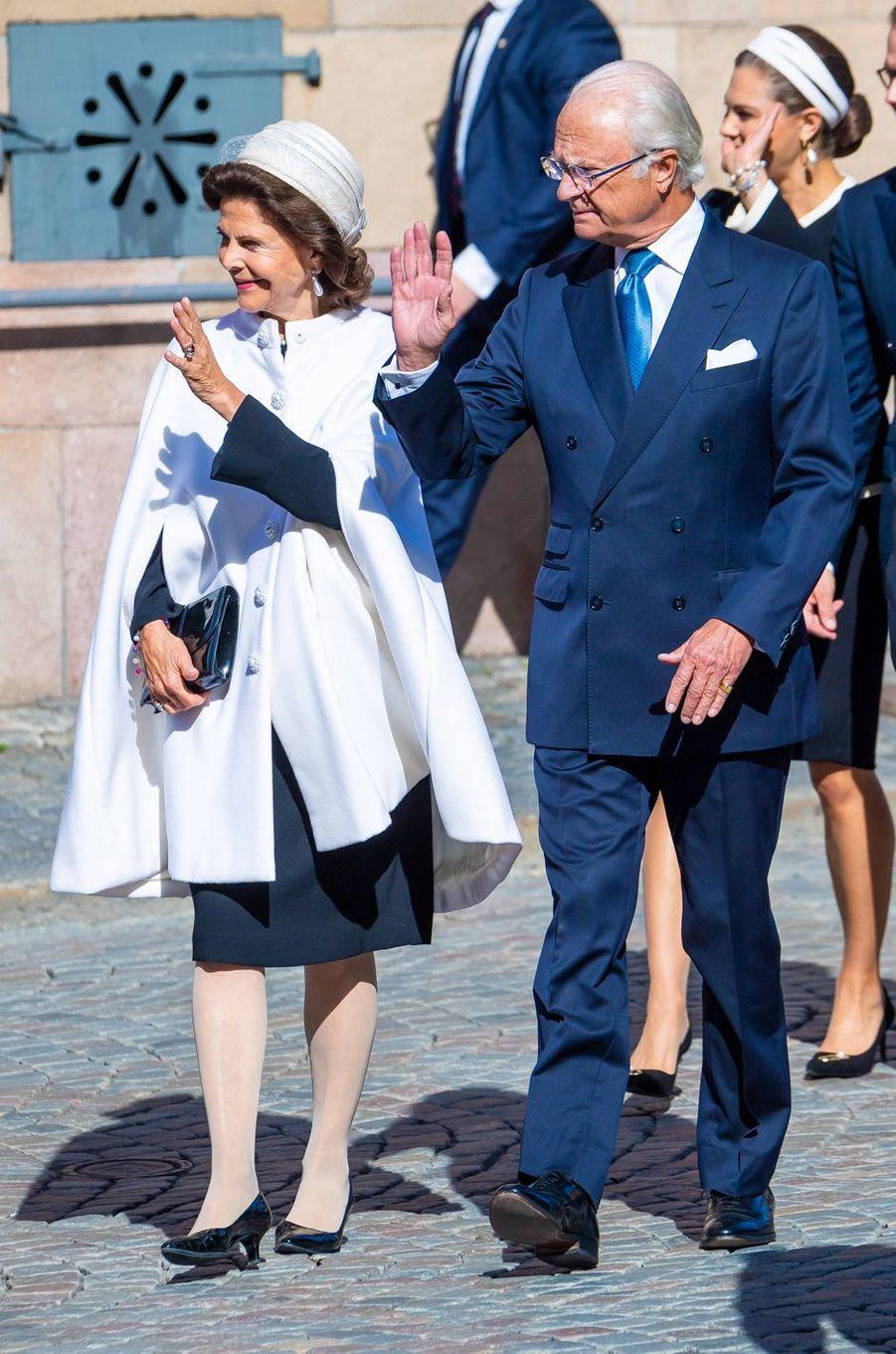La reine Silvia et le roi Carl XVI Gustaf de Suède à Stockholm, le 10 septembre 2019