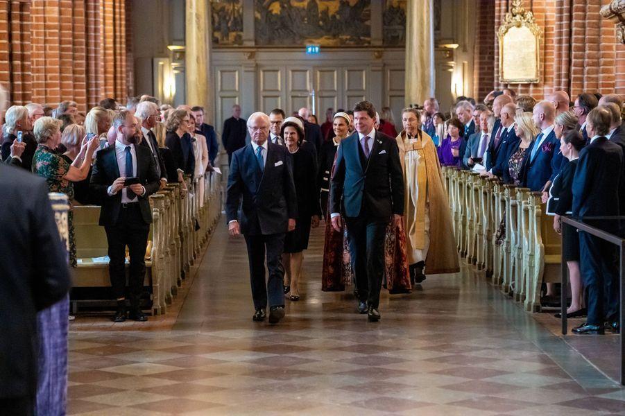 La famille royale de Suèdedans la cathédrale de Stockholm, le 10 septembre 2019