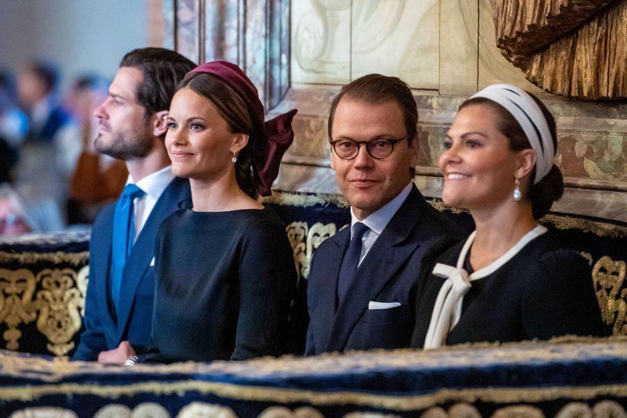 Les princesses Sofia et Victoria et les princes Carl Philip et Daniel de Suède dans la cathédrale de Stockholm, le 10 septembre 2019