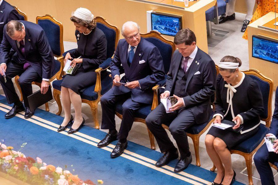 La reine Silvia, le roi Carl XVI Gustaf et la princesse Victoria de Suède à Stockholm, le 10 septembre 2019