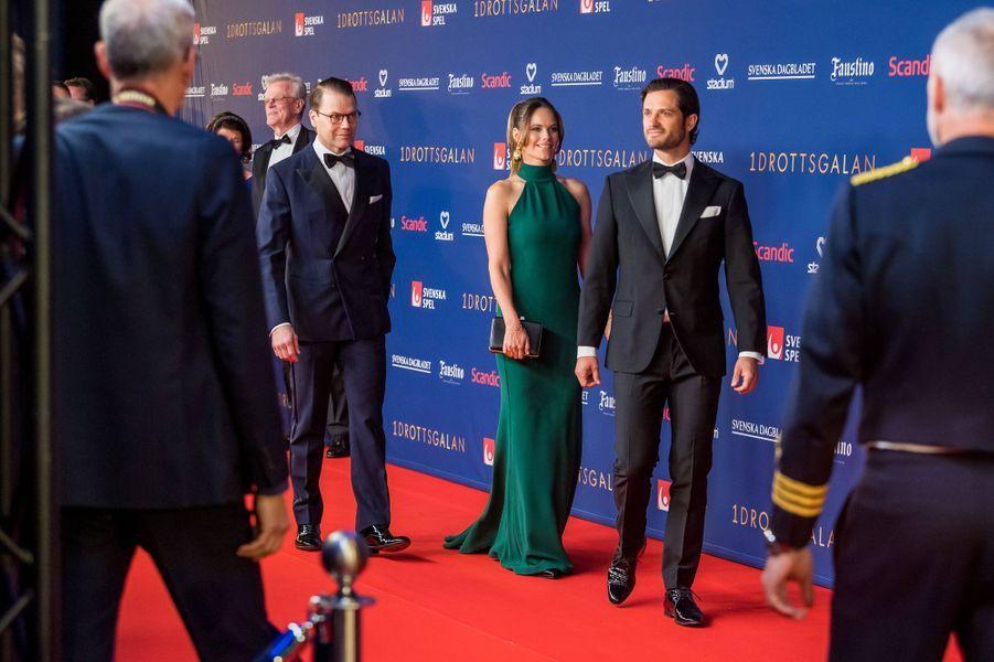 La princesse Sofia de Suède avec les princes Daniel et Carl Philip à Stockholm, le 27 janvier 2020