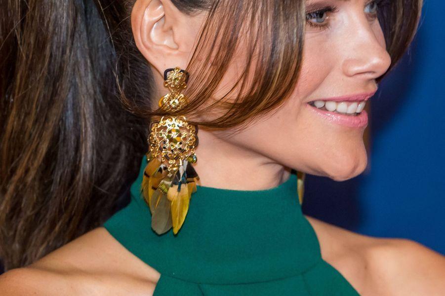 Les boucles d'oreille de la princesse Sofia de Suède à Stockholm, le 27 janvier 2020