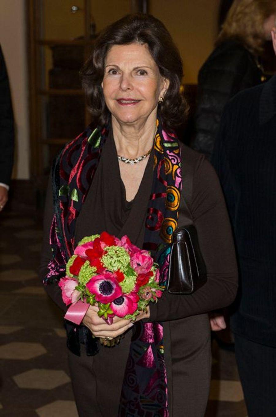 La reine Silvia de Suède à Stockholm, le 19 février 2016