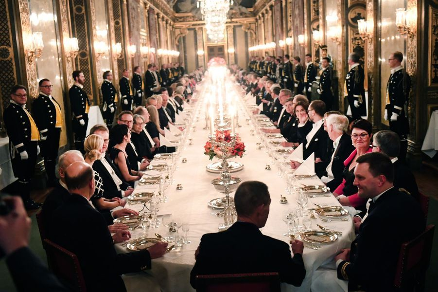 Le dîner des prix Nobel au Palais royal à Stockholm, le 11 décembre 2018