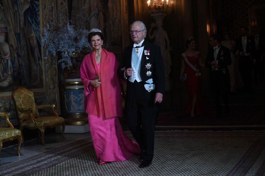 La reine Silvia et le roi Carl XVI Gustaf de Suède à Stockholm, le 11 décembre 2018