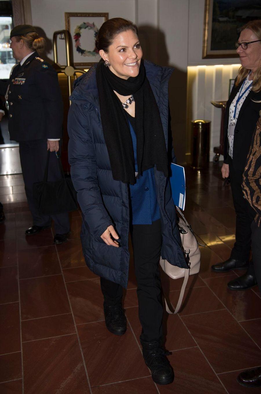 La princesse Victoria de Suède à Sälen, le 13 janvier 2018