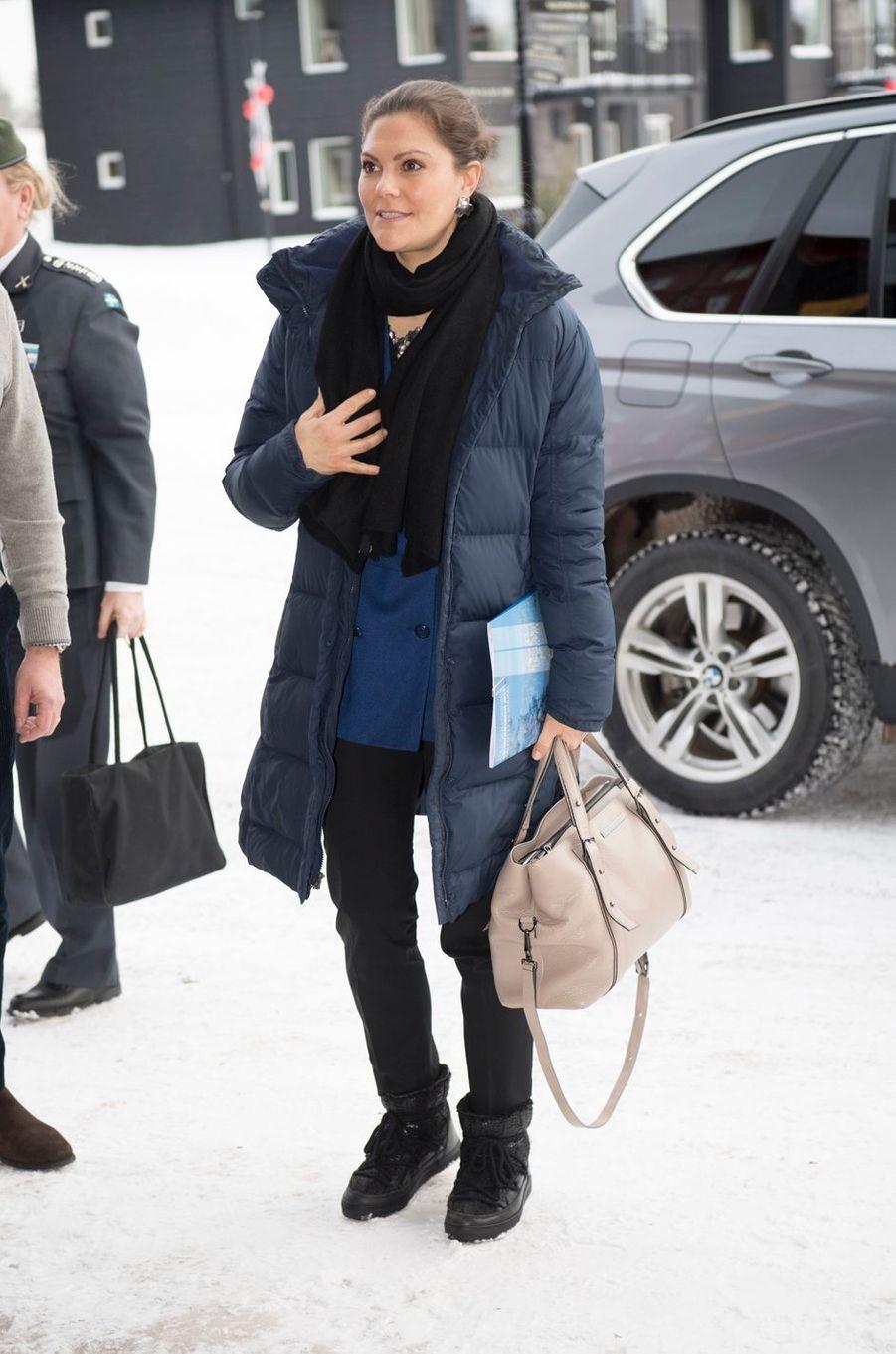 La princesse Victoria de Suède à son arrivée à Sälen, le 13 janvier 2018