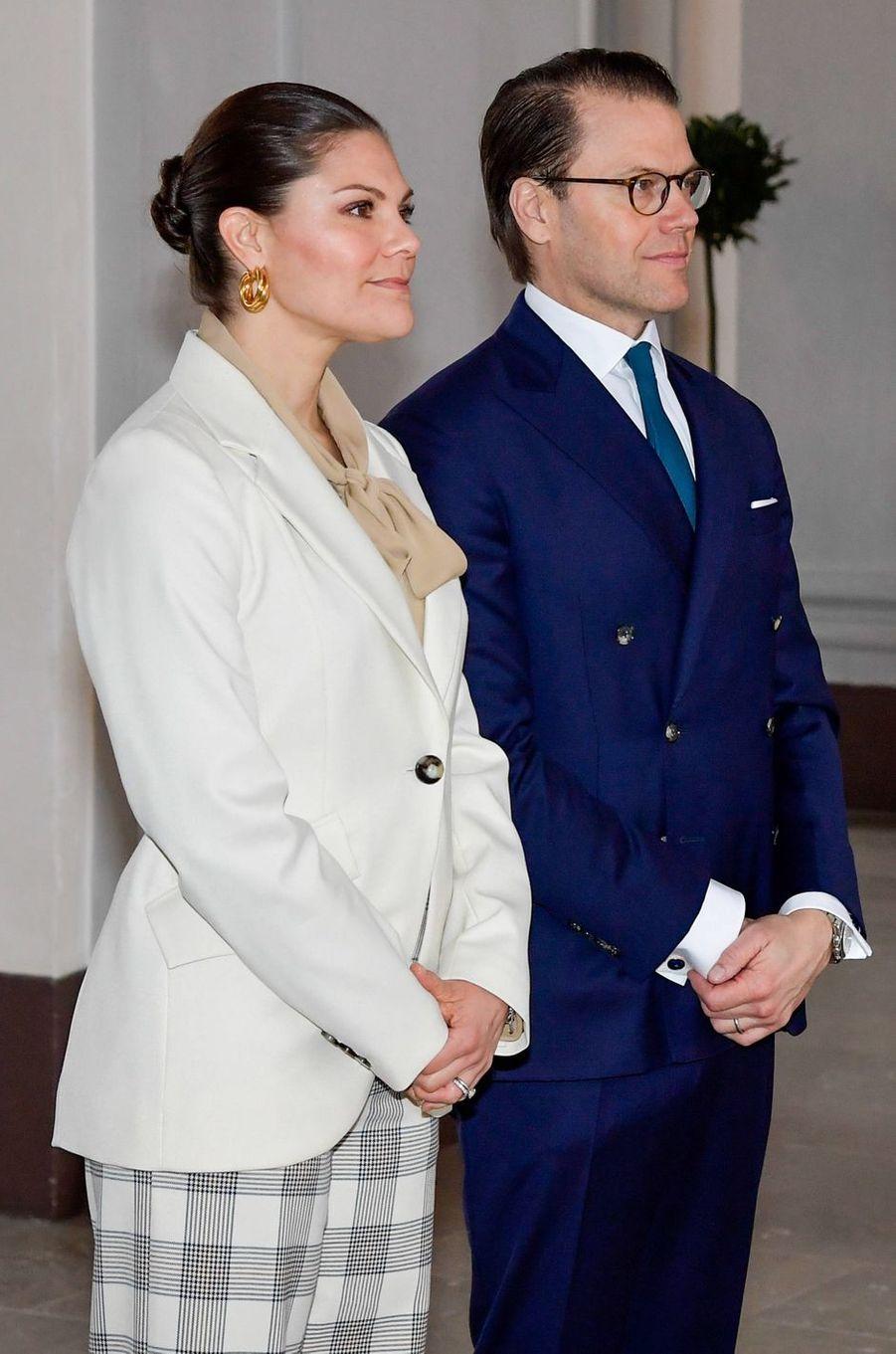 La princesse Victoria de Suède et le prince consort Daniel à Stockholm, le 12 mars 2020