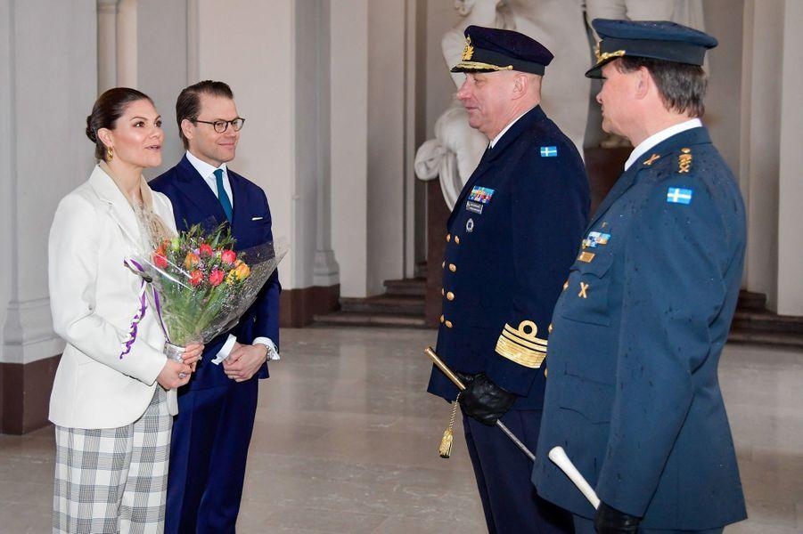 La princesse Victoria de Suède et le prince consort Daniel au Palais royal à Stockholm, le 12 mars 2020