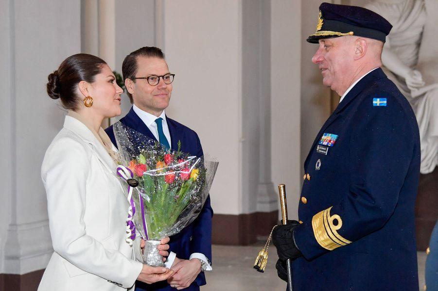 La princesse Victoria de Suède et le prince consort Daniel, le 12 mars 2020 au Palais royal à Stockholm