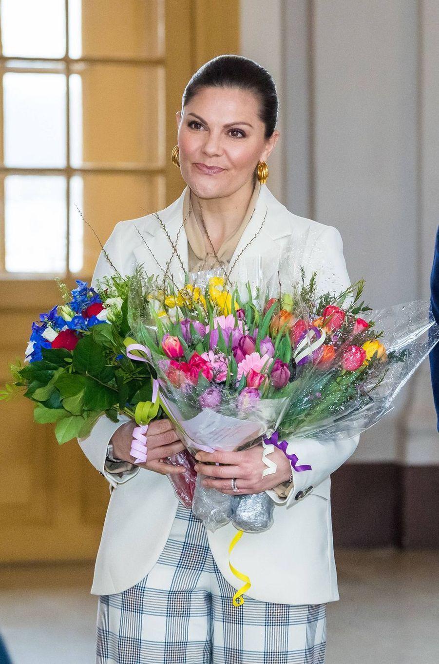 La princesse Victoria de Suède au Palais royal à Stockholm, le 12 mars 2020