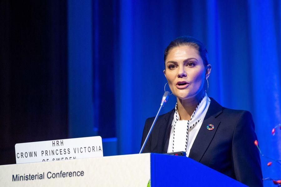 La princesse Victoria de Suède ouvre une conférence ministérielle à Vienne, le 28 novembre 2018