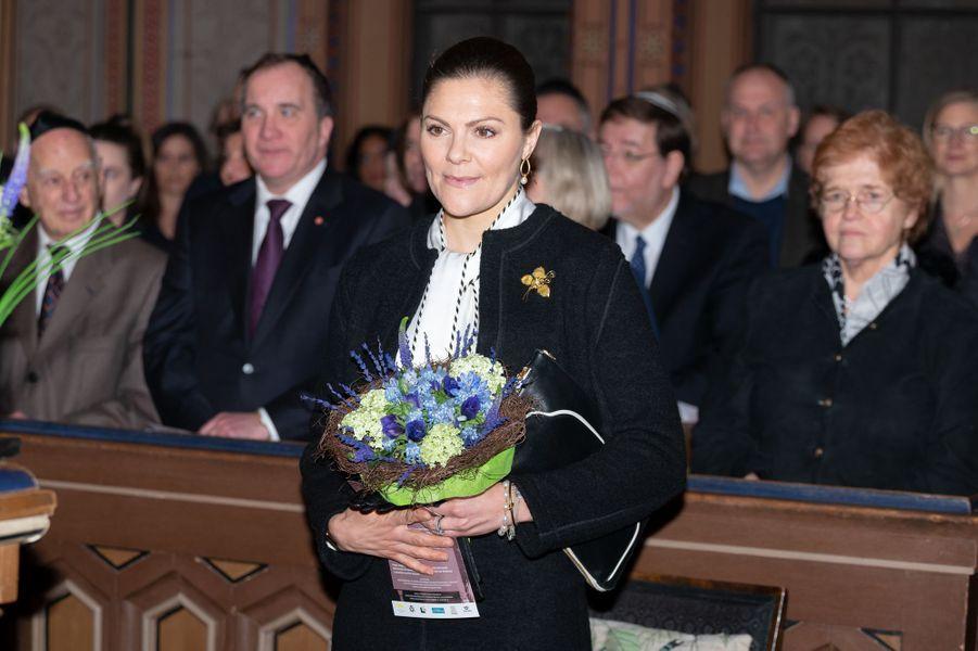 La princesse Victoria de Suède à la Grande Synagogue à Stockholm, le 27 janvier 2019