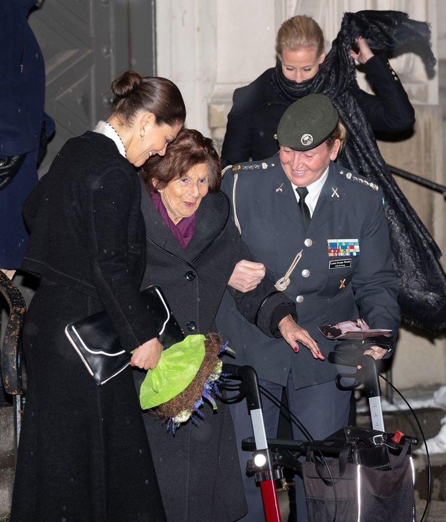 La princesse Victoria de Suède avec une ancienne déportée à Stockholm, le 27 janvier 2019