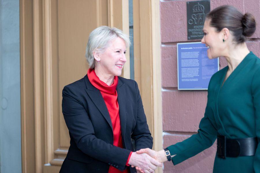 La princesse Victoria de Suède avec la ministre des Affaires étrangères Margot Wallström à Stockholm, le 28 janvier 2019