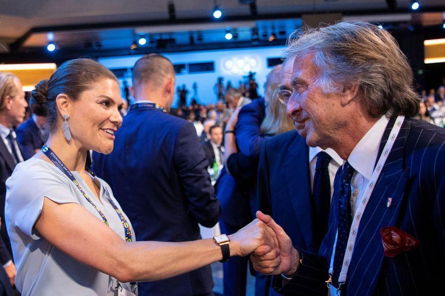La princesse Victoria de Suède avec Luca Cordero di Montezemolo, à Lausanne le 24 juin 2019