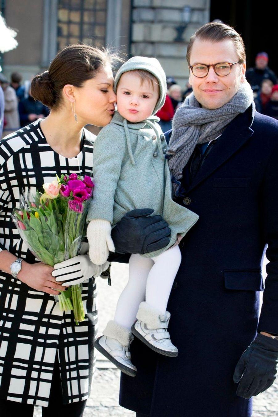 La princesse Victoria de Suède et sa fille Estelle, en mars 2014