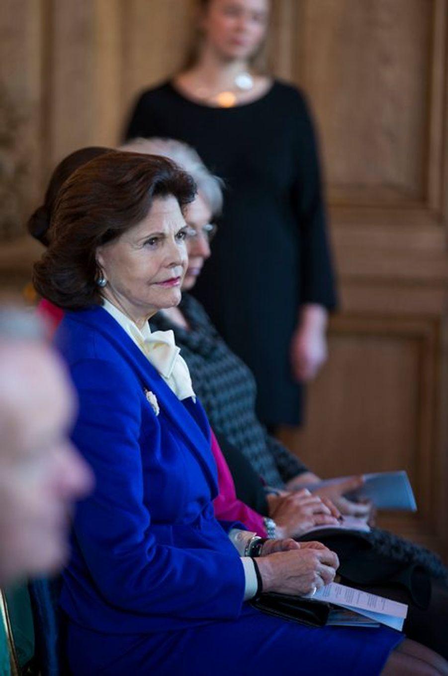 La reine Silvia de Suède au Palais royal à Stockholm le 22 janvier 2016