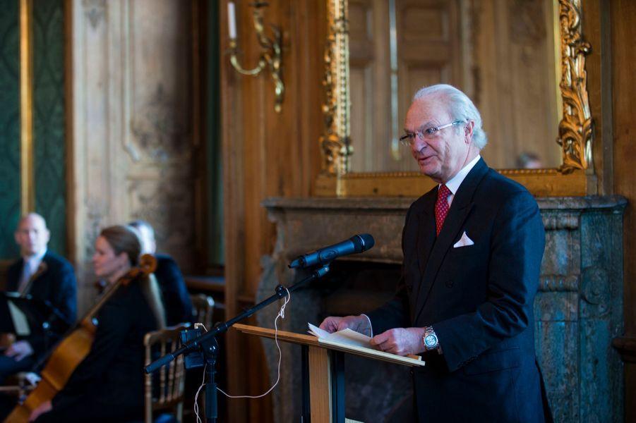 Le roi Carl XVI Gustaf de Suède au Palais royal à Stockholm le 22 janvier 2016