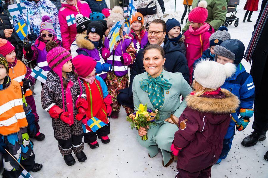 La princesse Victoria de Suède et le prince consort Daniel à Pello en Finlande, le 10 mars 2020
