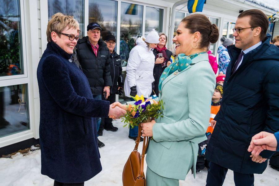 La princesse héritière Victoria de Suède et le prince consort Daniel à Pello, le 10 mars 2020
