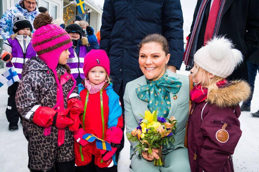 La princesse héritière Victoria de Suède à Pello en Finlande, le 10 mars 2020