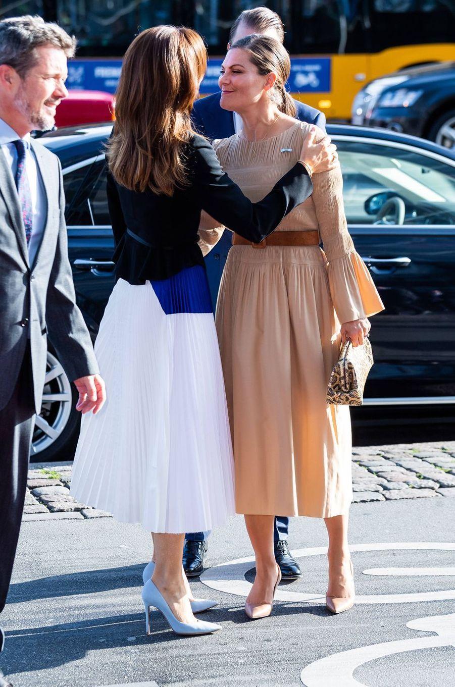 La princesse Victoria de Suède avec la princesse Mary et le prince Frederik de Danemark à Copenhague, le 18 septembre 2019