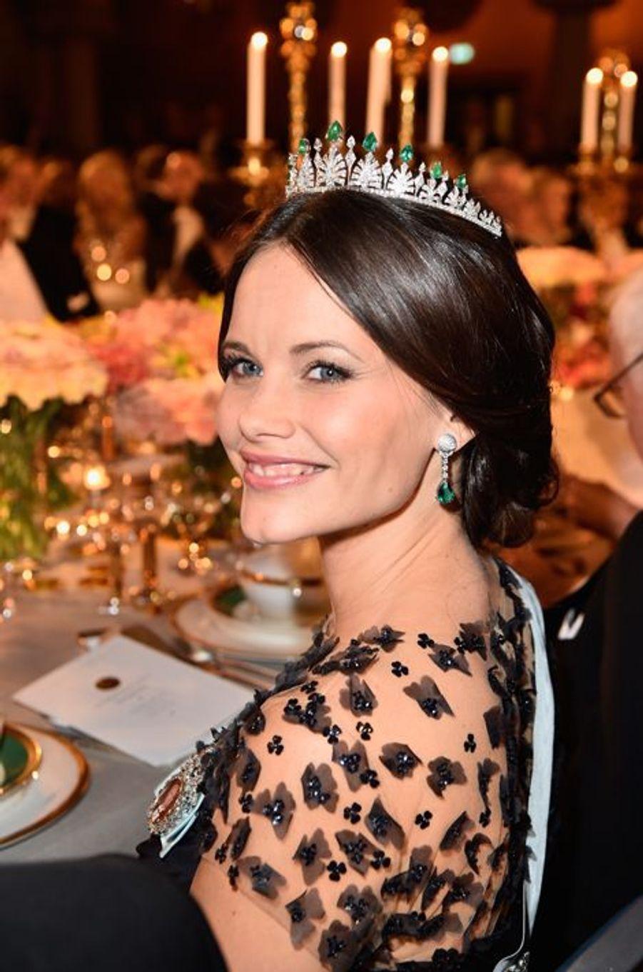 La princesse Sofia de Suède au banquet des Nobel à Stockholm, le 10 décembre 2015