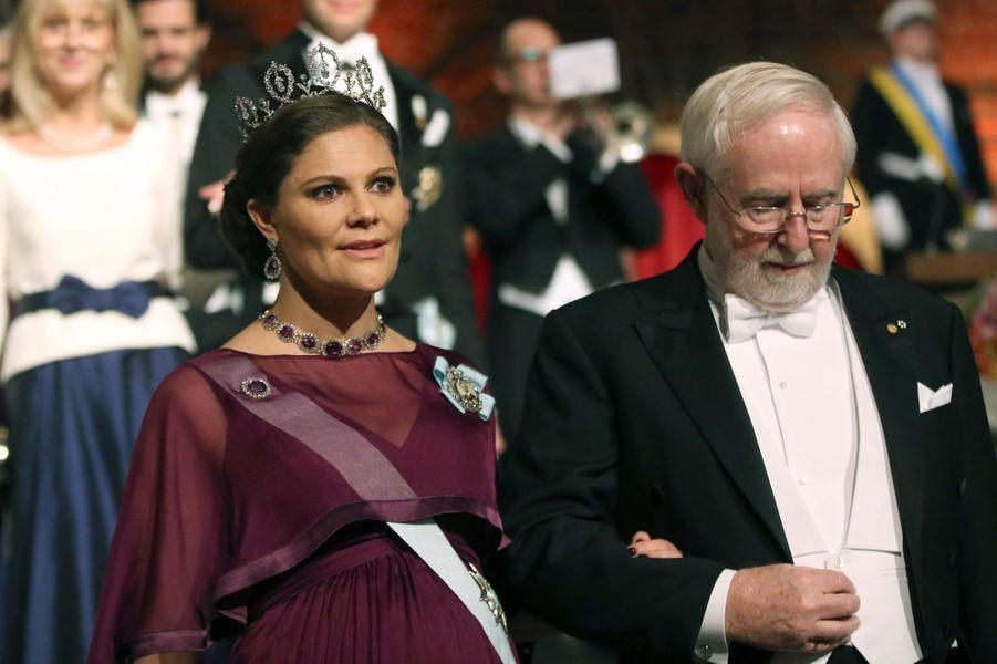 La princesse Victoria de Suède au banquet des Nobel à Stockholm, le 10 décembre 2015