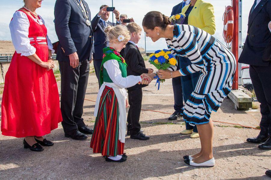 La princesse Victoria de Suède sur l'île de Naissaar en Estonie, le 19 août 2018