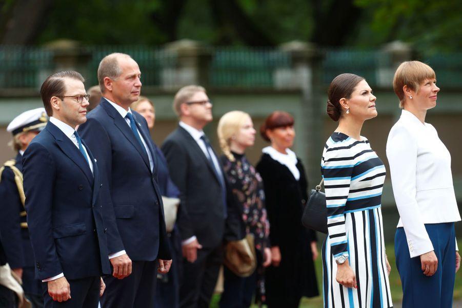 La princesse Victoria de Suède et le prince consort Daniel avec la présidente estonienne et son mari à Tallinn, le 19 août 2018