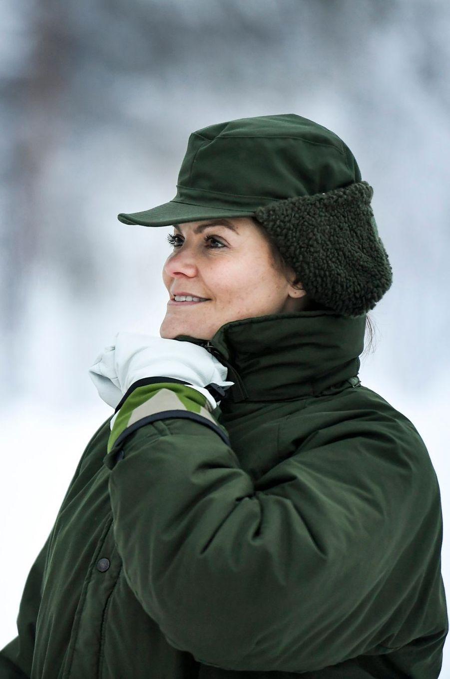 La princesse Victoria de Suède affronte des températures glaciales à Arvidsjaur, le 23 janvier 2019