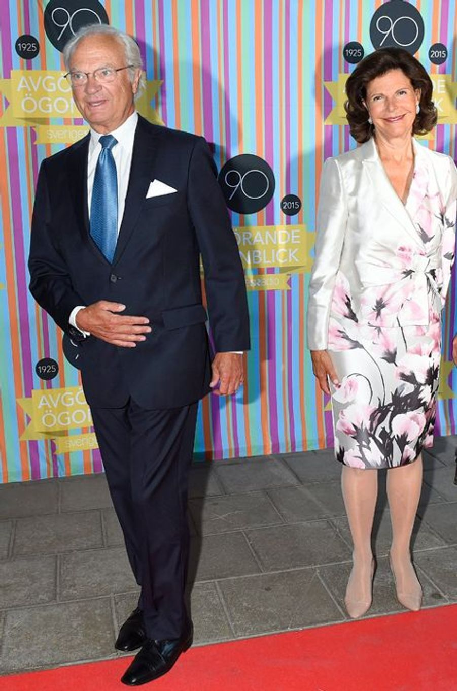 Le roi Carl XVI Gustaf de Suède et la reine Silvia à Stockholm, le 21 août 2015