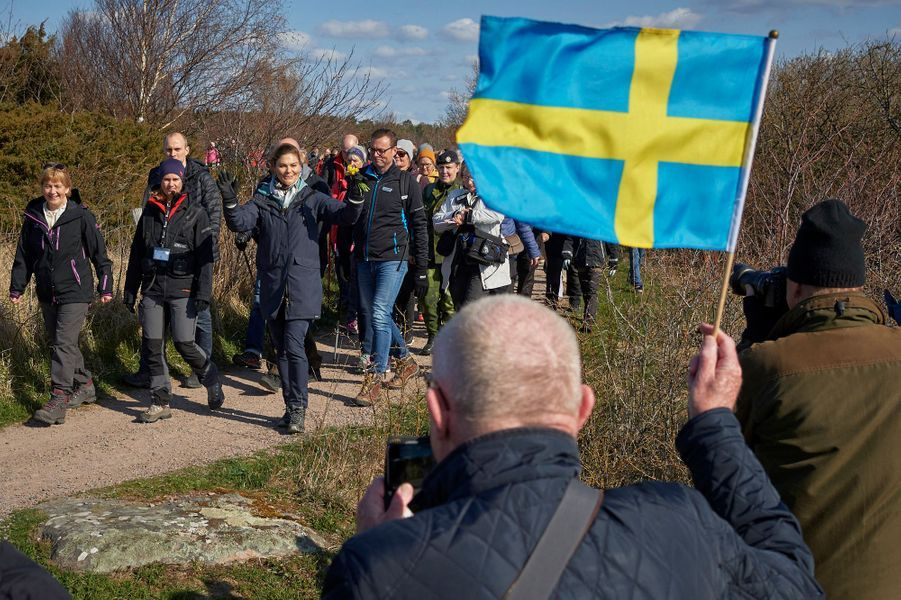 La princesse Victoria de Suède en balade à Halmstad dans le Halland, le 12 avril 2019