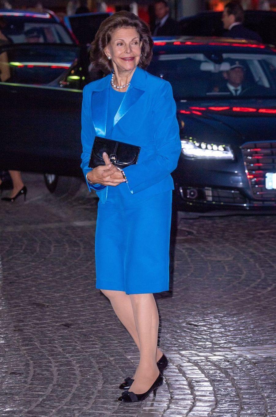 La reine Silvia de Suède à Stockholm, le 25 septembre 2018
